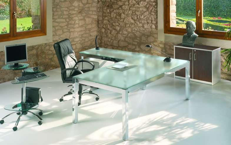 Mesas de despacho de cristal for Mesa cristal oficina