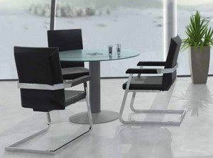 Mesas de despacho de cristal for Mesa cristal ovalada